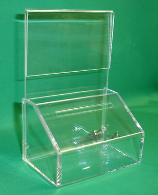 10 (Ten) FUNDRAISING CHARITY DONATION BOXES WITH SIGN-HOLDER