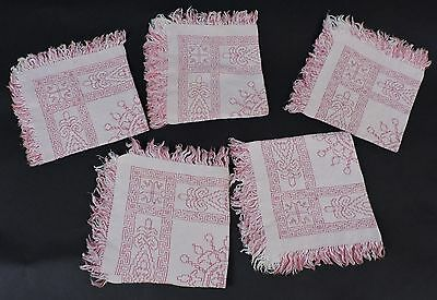 Antique Embroidered Linen Napkin Lot Of 5 Matching