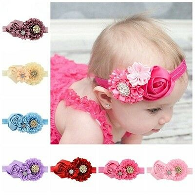 Toddlers Hair Accessories Handmade Diamond Flower Headbands for Baby Girls 8 Pcs