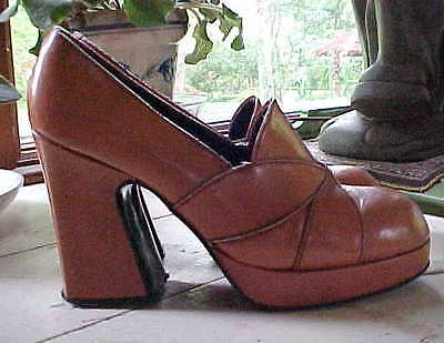 Vintage Womens 70S Leather Hippy Funky Groovy Platform Shoes 6 1/2 N