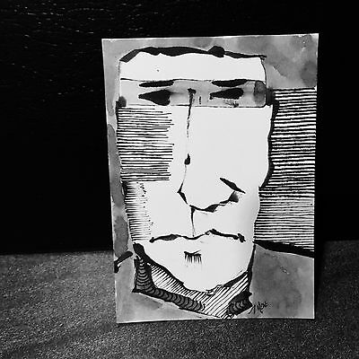 Aceo signed original by MOE outsider art cartoon black & white ink sketch sb29