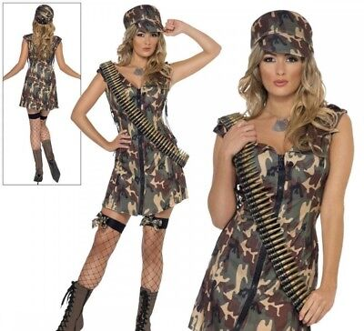 Fever Army Girl Ladies Fancy Dress Costume Military Combat Outfit Size 8/18