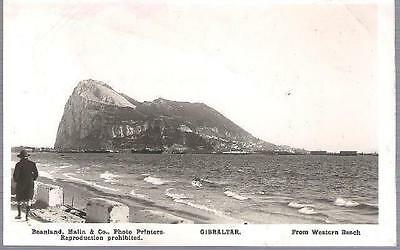 Gibraltar - from Western Beach - RP postcard, stamp, 1926
