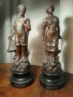 Antique French Painted Spelter Fisherman and Woman