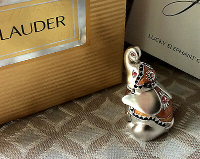 Figural Estee Lauder PLEASURES Solid Perfume Compact LUCKY ELEPHANT in DBL Box
