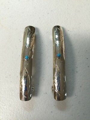 Navajo Indian Jewelry 1 Pair Hair Clip Barrette Turquoise Native American Nice 3