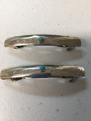 Navajo Indian Jewelry 1 Pair Hair Clip Barrette Turquoise Native American Nice#3