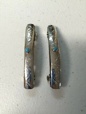 Navajo Indian Jewelry 1 Pair Hair Clip Barrette Turquoise Native American Nice#4