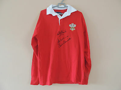 Signed  Wales Rugby shirt by Three Legends Edwards Bennett  Williams COA