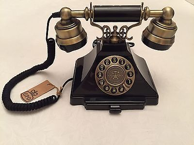 GPO Duke Old Fashioned 1930s Vintage Black/Brass Phone - Push Button Telephone