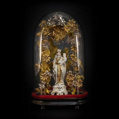 1800's French Vieux Paris Porcelain Figurine Our Lady Virgin Mary Glass Dome 6