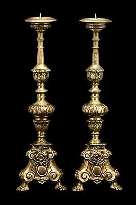 """Magnificent 25"""" Large Pair French Antique Bronze Candlesticks Candle Holders 2"""