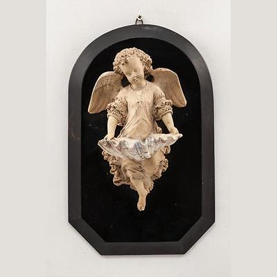 RARE Wonderful Antique 1800's Hand Carved Meerschaum Angel Wall Holy Water Font