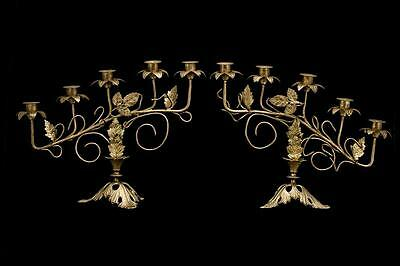 Charming Pair of French Antique Gilded Bronze 5 Tier Candelabras Candle Holders