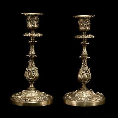 Delightful Pair of Antique early 1900s Bronze Candlesticks Candle Holders 4