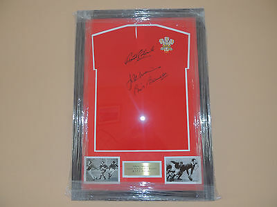 Signed Framed  Wales Rugby shirt by Legends Edwards Bennett  Williams  COA