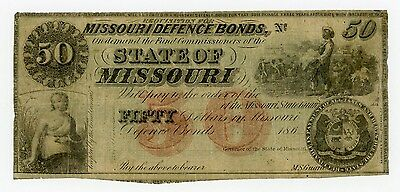 1860's $50 The State of MISSOURI Note w/ SLAVE
