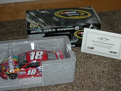 kyle busch signed 2015 #18 indy race win skittles 1:24 w COA