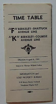 Key System Transit Lines 1941 Public Timetable - F & K - Berkeley - College Ave.