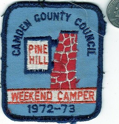 Boy Scouts America Patch Camden County New Jersey PINE HILL WEEKEND CAMPER 1972