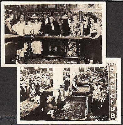 Reno NV 1930s Roulette Gambling Willows Casino Bank Club Real Photo 2x PostCards