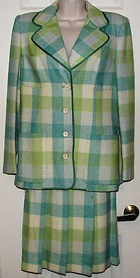 Vintage 70s YOUNG DIMENSIONS Saks Fifth Ave GEORGES RECH Wool Plaid SKIRT SUIT