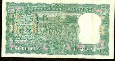 1967 India 5 rupees note Pick 54 A Reserve Bank of India Wildlife