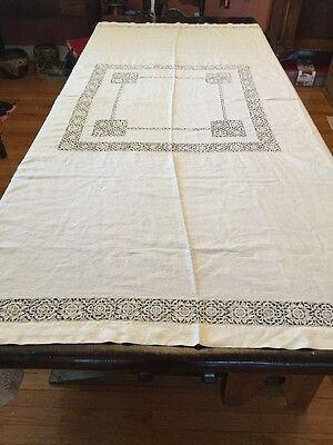AntiqueTablecloth Reticella Open Cutwork Bedcover Ivory Linen