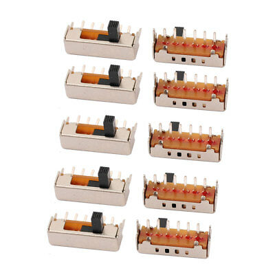 10Pcs 4 Position 6P 1P4T Panel Mount Micro Slide Switch Latching Power Switch