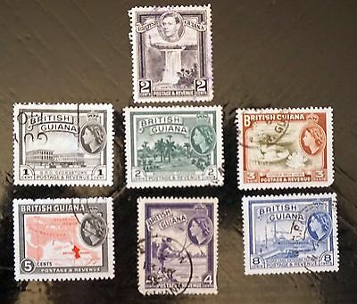 BRITISH GUIANA Lot of 7 different stamps  Used