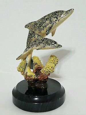 SPI Brass Mom Baby Dolphins & Sea Coral Sculpture on Marble Base