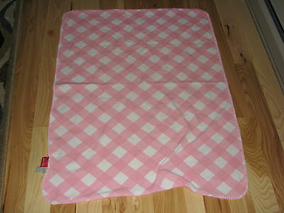 Amy Coe Pink White Gingham Checkered Microfleece Plaid Blanket Ltd Edition Lovey