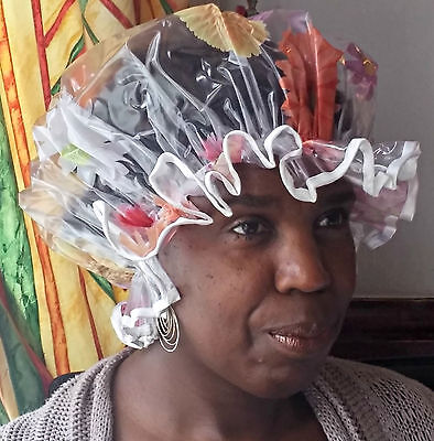 JANUARY SALE Multi Coloured Flowers Shower Caps with White Trim
