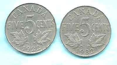 Canadian  1922 & 1932 GEORGE V  Five Cents Great Condition