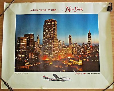 "35"" Vtg 1950's/60's Along the Way Of TWA Lights Of Manhattan, NY, Airline Poster"
