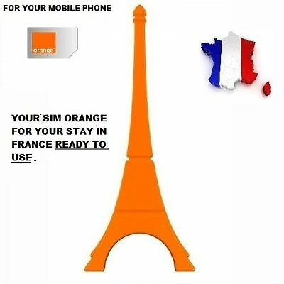 New! Ready To Use French Simcard Orange/pay As You Go+5€