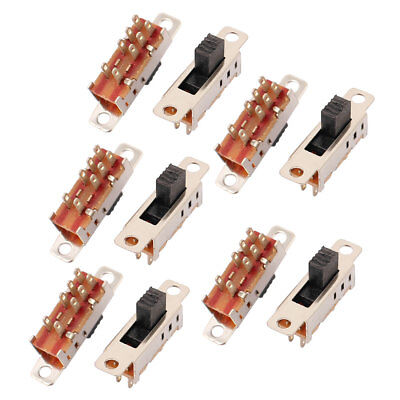 10Pcs 3 Position 8P DPDT Panel Mount Micro Slide Switch Latching Toggle Switch