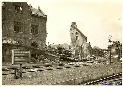 Press Photo: DESTROYED Belgian Train Station hit by German Bombs; TONGEREN 1940!