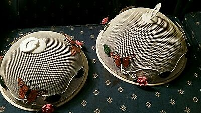 Pair Decorated Metal Screen Food Cover Domes Butterflies