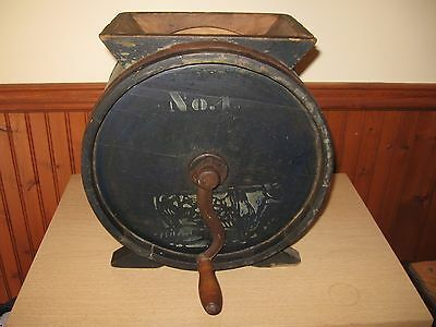 Antique Wooden Butter Churn No.1 with Cow  W.E. Barrett & Co Providence c1800's