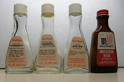 Lot of 4-Vintage Extract glass bottles -  McCormick, and Durkee