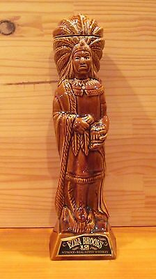 Vintage EZRA BROOKS CIGAR STORE INDIAN CHIEF WHISKEY DECANTER / BOTTLE  1968