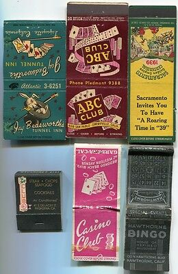 rare California Illegal? Gambling Club Casinos  1939/60s - 1 Matchbook, 5 Covers
