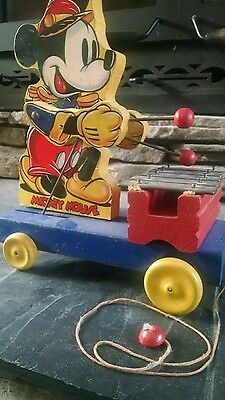 Fisher Price 1939 Mickey Mouse Xylophone Vintage Wooden Pull Toy #798 . Nice !!!