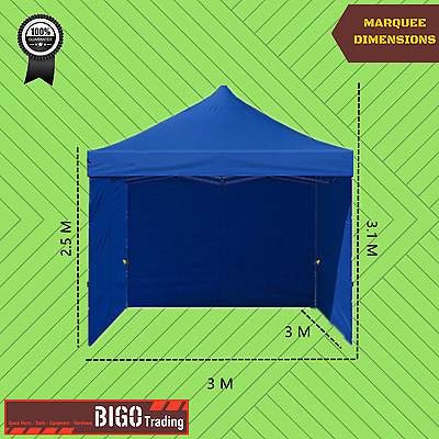 3x3m PopUp Outdoor Gazebo Marquee Folding Tent Canopy Party Stall Shade EzyGlide