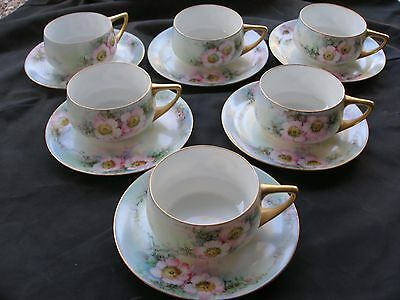 Six Sets Vintage Rosenthal Donatello Bavaria Cups & Saucers, Hand-Painted
