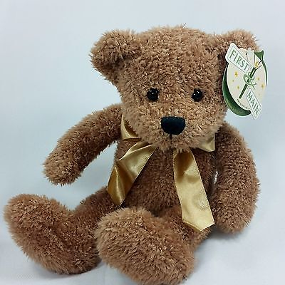 First & Main Benjamin Teddy Bear Plush Stuffed Animal New Gold Bow Tags Weighted