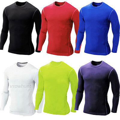 Mens Compression Soccer Sportswear Base Layers Tight Skin Long Sleeve T-Shirts