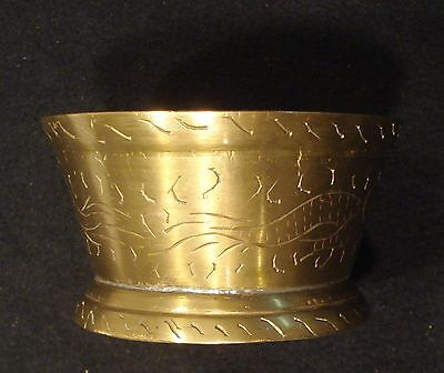 """Antique Brass Chinese Bowl, Hand Engraved, Marked """"china"""" On Bottom"""