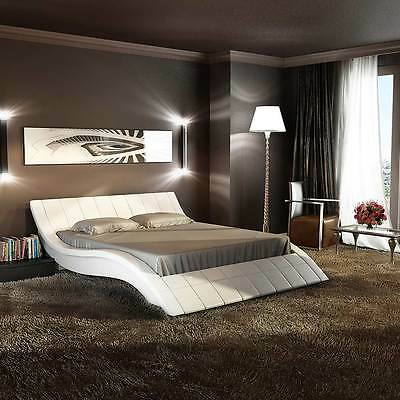 Luxury Queen Size Leather Bed Frame - White